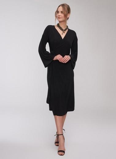 People By Fabrika Kruvaze Midi Elbise Siyah